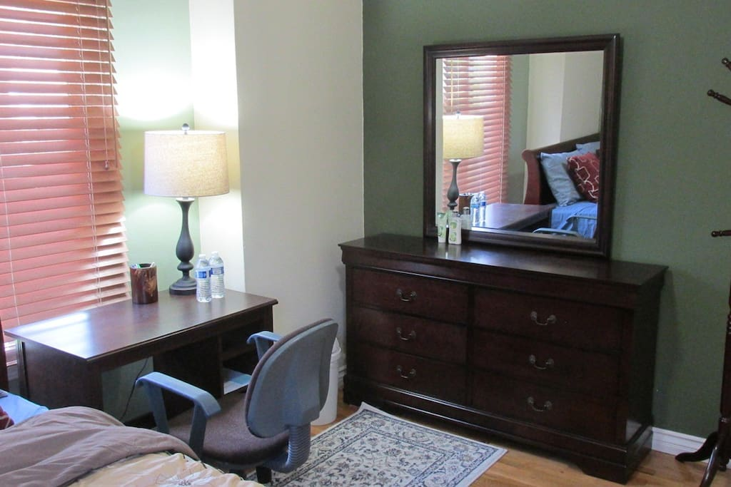 Small desk and dresser with mirror