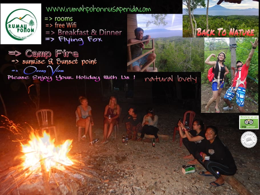 flying fox, camp fire, relax, find new friend