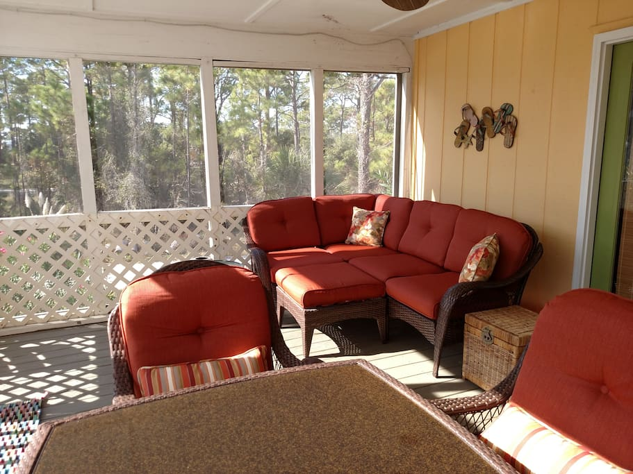 Relaxing Screened Porch facing  Gulf