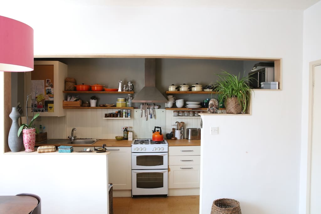 The open plan kitchen