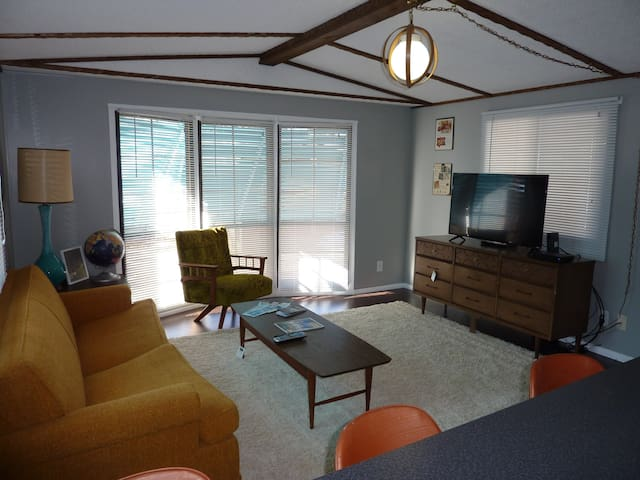 Living room with vintage furniture, sleeper sofa, flat screen TV and internet.