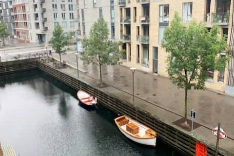 Newly built apartment by the canal, in Copenhagen