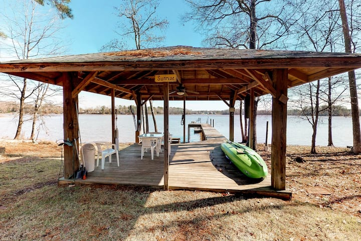 Huge dog-friendly waterfront cabin w/ private dock and a play structure