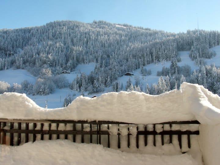 Studio au calme avec terrasse face aux montagnes
