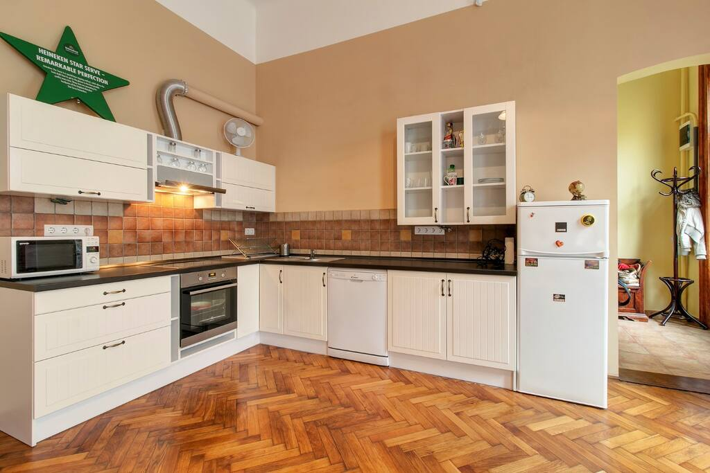 Kitchen: microwave, cooking top, oven, fridge, dishwasher, cutlery, utensils, basics for cooking