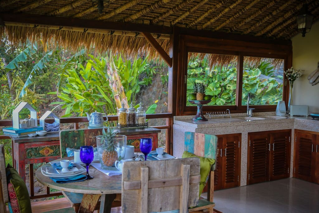 Enjoy the ocean breeze from the  open dining area