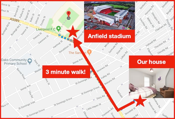 Our house is a 3 minute walk to Liverpool FC's Anfield Stadium!
