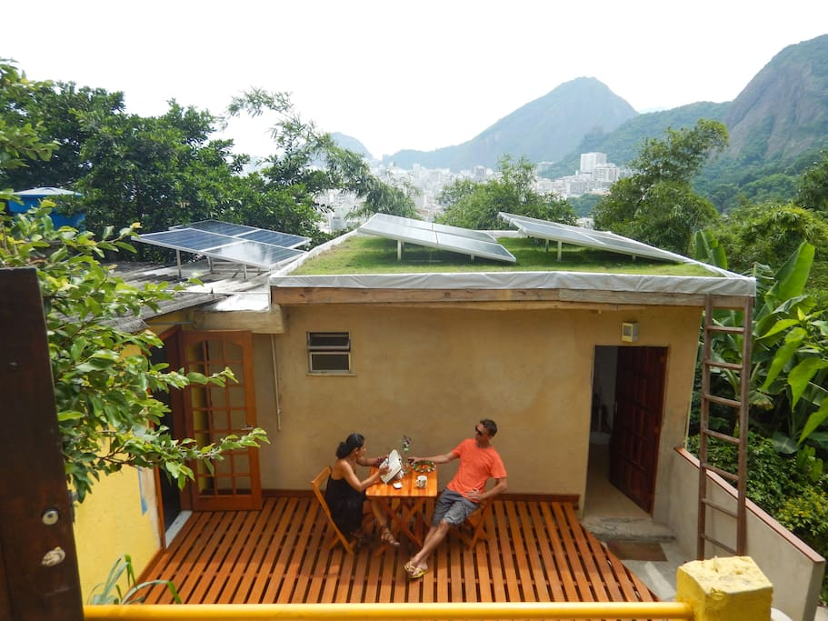 A new terrace, green roof with PV solar energy panels