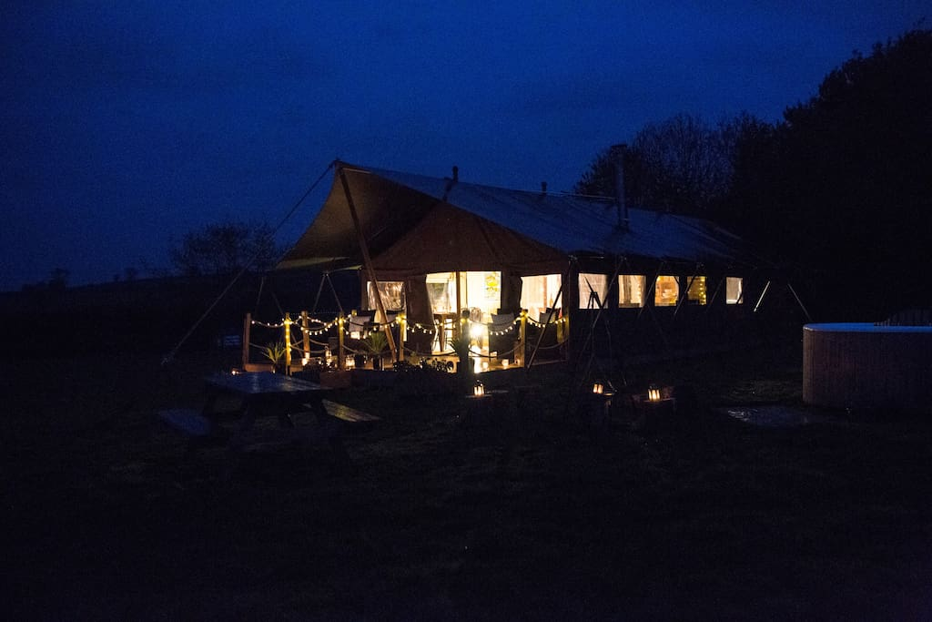 Our glamping is so pretty at night!