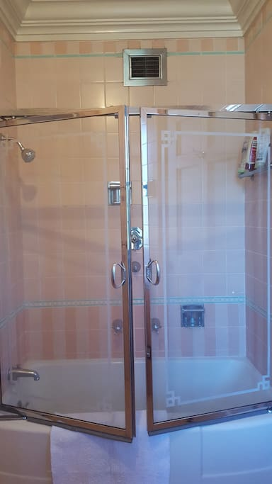 With shower and tub