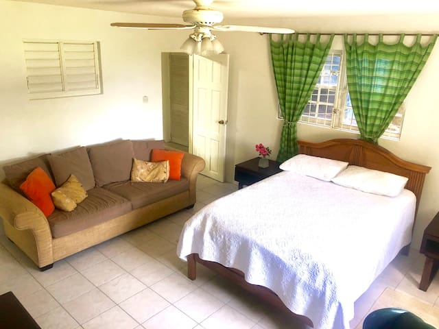 Private bedroom with 2 entrance doors that can be locked.  Ceiling fan and AC. 2 bedside tables, double bed and a very comfy sofa.