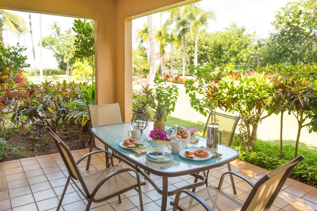 Enjoy your oceanview and tropical surroundings while eating and grilling on your private lanai.