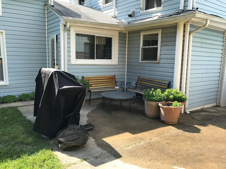 Gas grill, patio seating