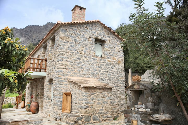 Traditional stone house newly rebuilt