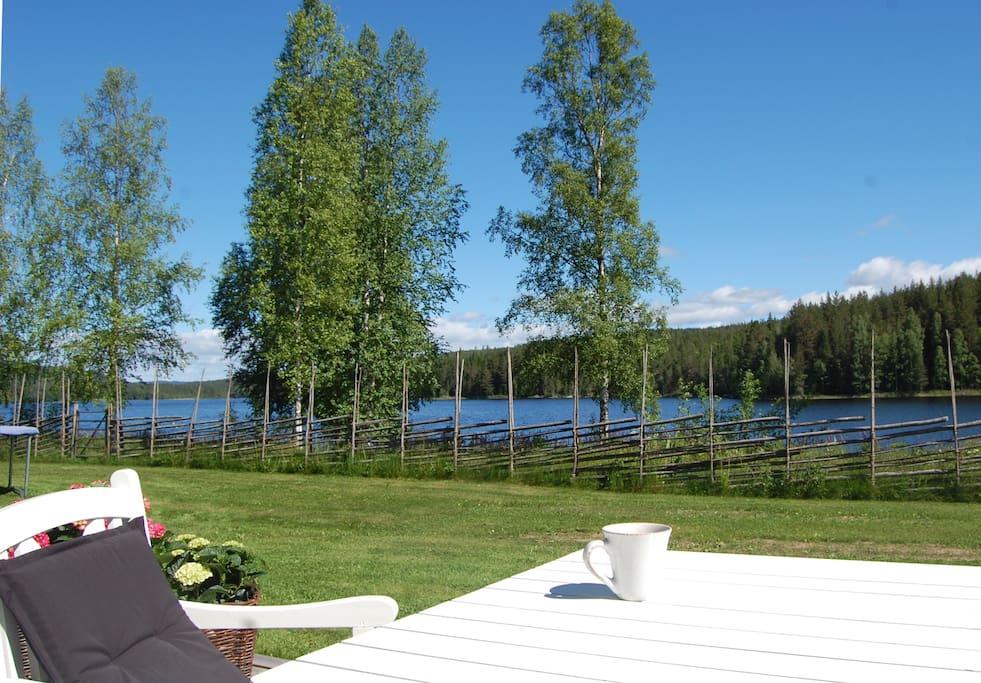 Terrace facing lake