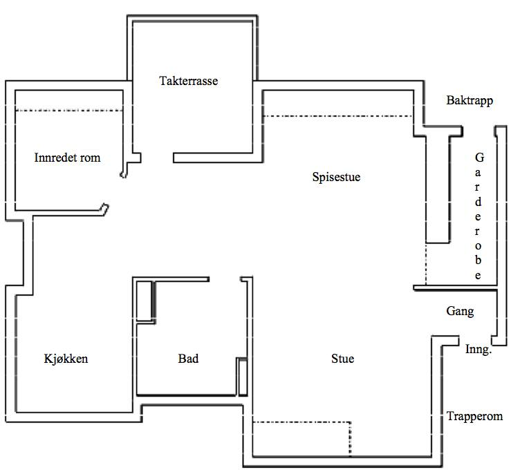 """Floorplan.  On top of the bathroom (""""bad"""") and going towards the balcony (""""takterasse""""), is the loft."""
