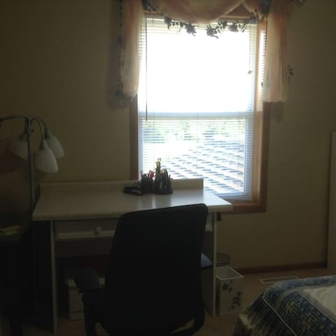The desk and window