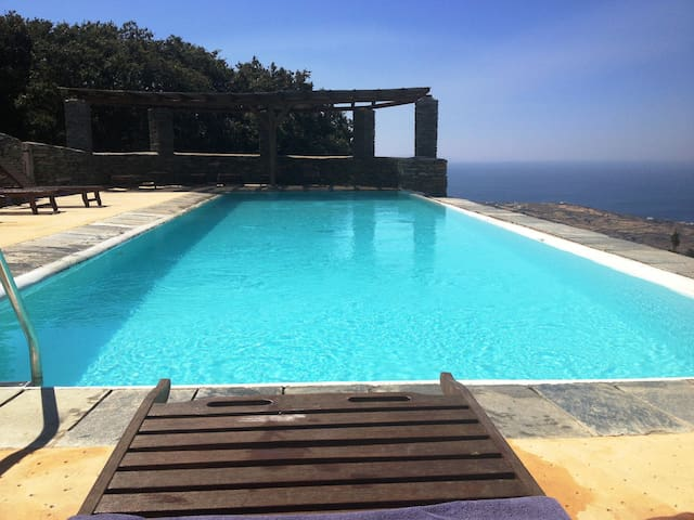 ANDROS Aprovato SuperSea View HOUSE +Pool  Sleep 4 - GR - Haus