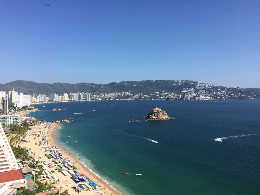 Excelente vista a la hermosa bahía de Acapulco