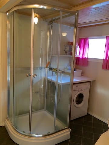 Bathroom with shower and washingmachine