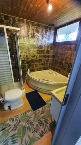 Full bathroom with large bathtub, shower, two sinks n toilet. All solely to be used by guests