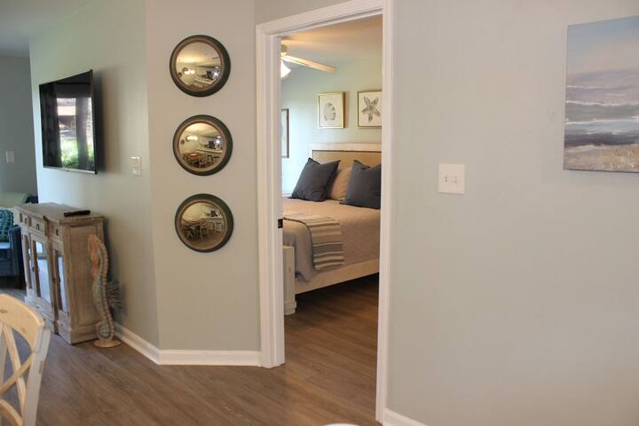 Entrance off of living and dining to private master bedroom.