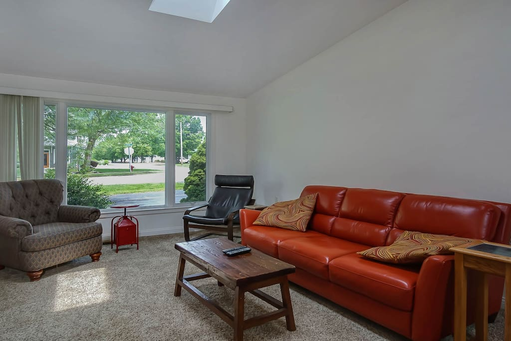 The skylight in the living room brightens up the living area.