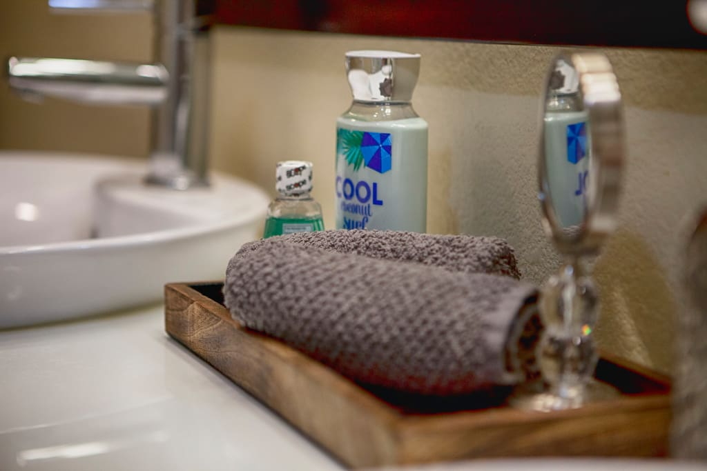 Incase you forget something, toiletries provided to enhance your stay.