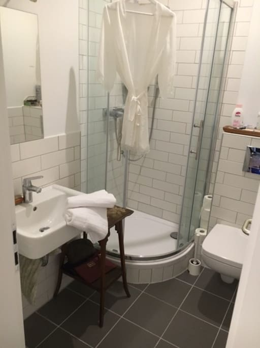 Bathrooom: shower, towels and toilet