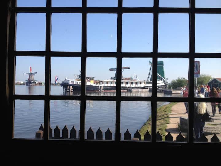 Unique houseboat at Amsterdam Area. Zaanse Schans.