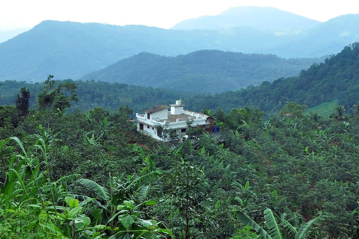 A long view of our home in the lap of paithal mala the highest peak north kerala. Situated in the midst of never ending greenery. Stream flowing near by is an added attraction.