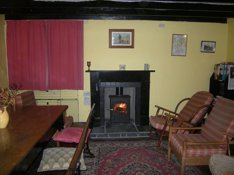 Common room with woodburner stove