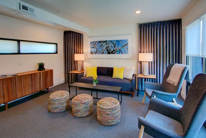 This lovely room is a sitting area or a bedroom on the first floor depending on the number of guests.
