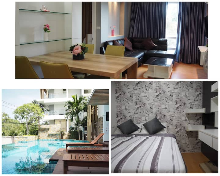 2 bedroom condo free wi-fi 15 mins drive to Patong