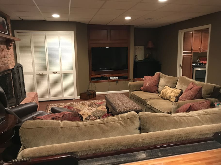 Living area with gas fireplace, tv cable with over 300 channels and all movie channels