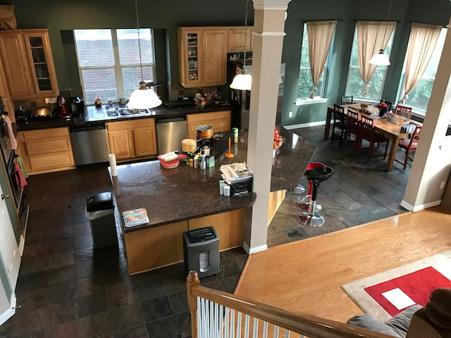 Gourmet kitchen great for large groups (seating for 12). Double oven, two dishwashers, and center island gas cook-top.