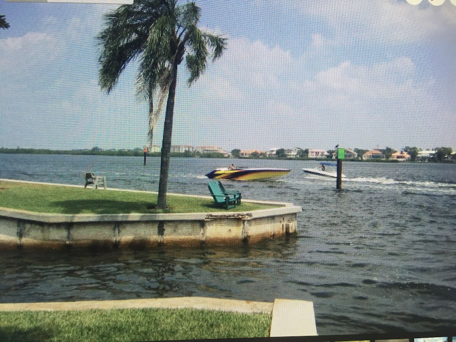 This is steps from our front door! Boat dock!