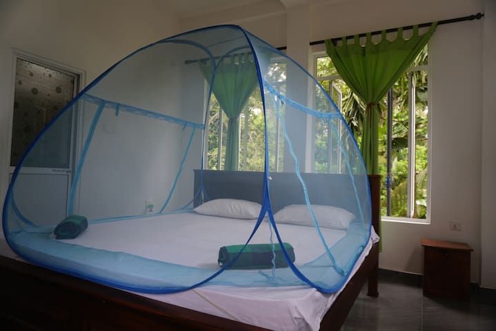 King size bed with fresh air.