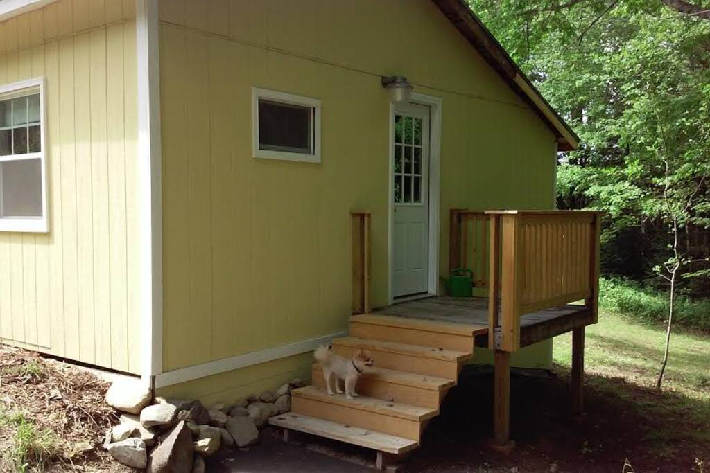 Small back deck and even smaller dog (dog not included).