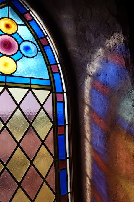 Stained Glass from the Original Loretto Inn of Santa Fe can be seen in the Round House
