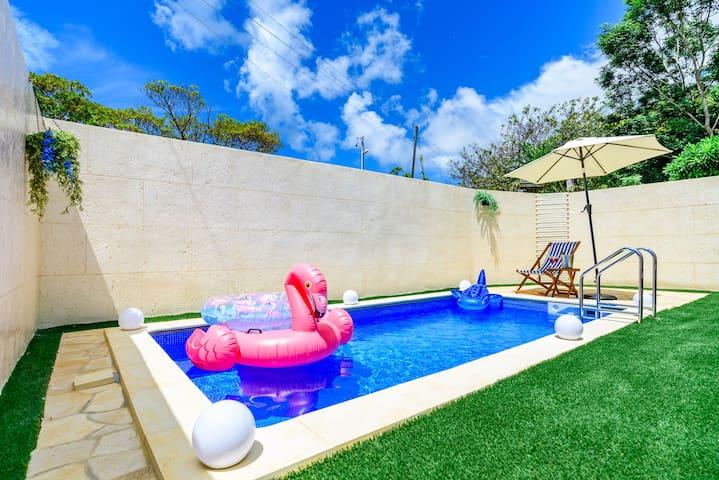 92 Private Pool Villa♡Onna/3BR/Baby/Max14ppl/C
