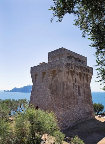 Amazing saracen tower Amalfi Coast w view on Capri