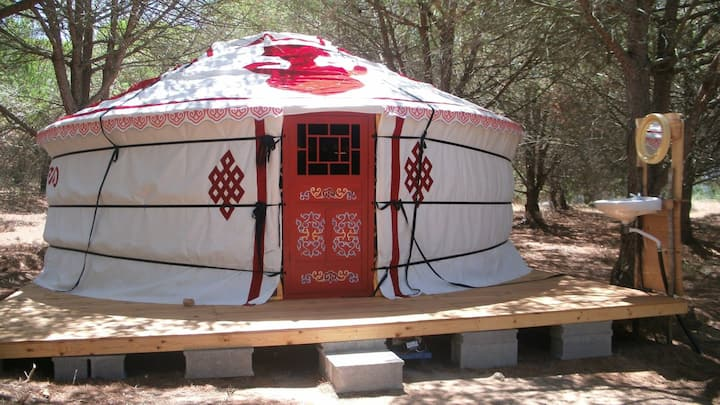 Large 5 (max 7) person Yurt at our Eco Community