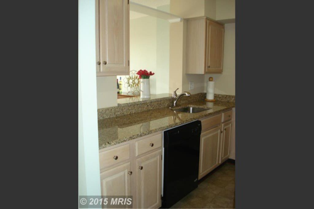 Granite countertops and a nice fridge