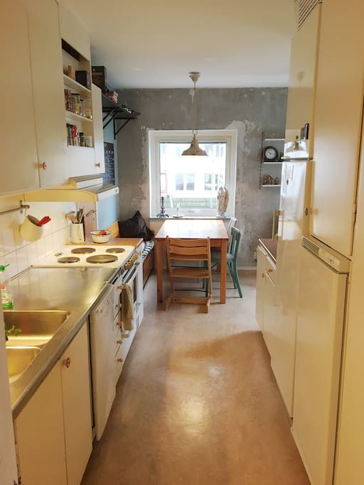 Our large kitchen can easy accomodate 6-8 people.