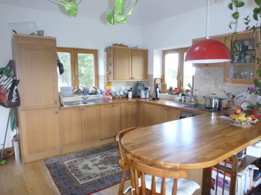 Open plan kitchen upstairs