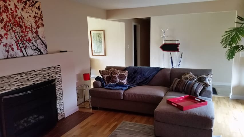 Newly furnished Living room and re-finished hardwood floors