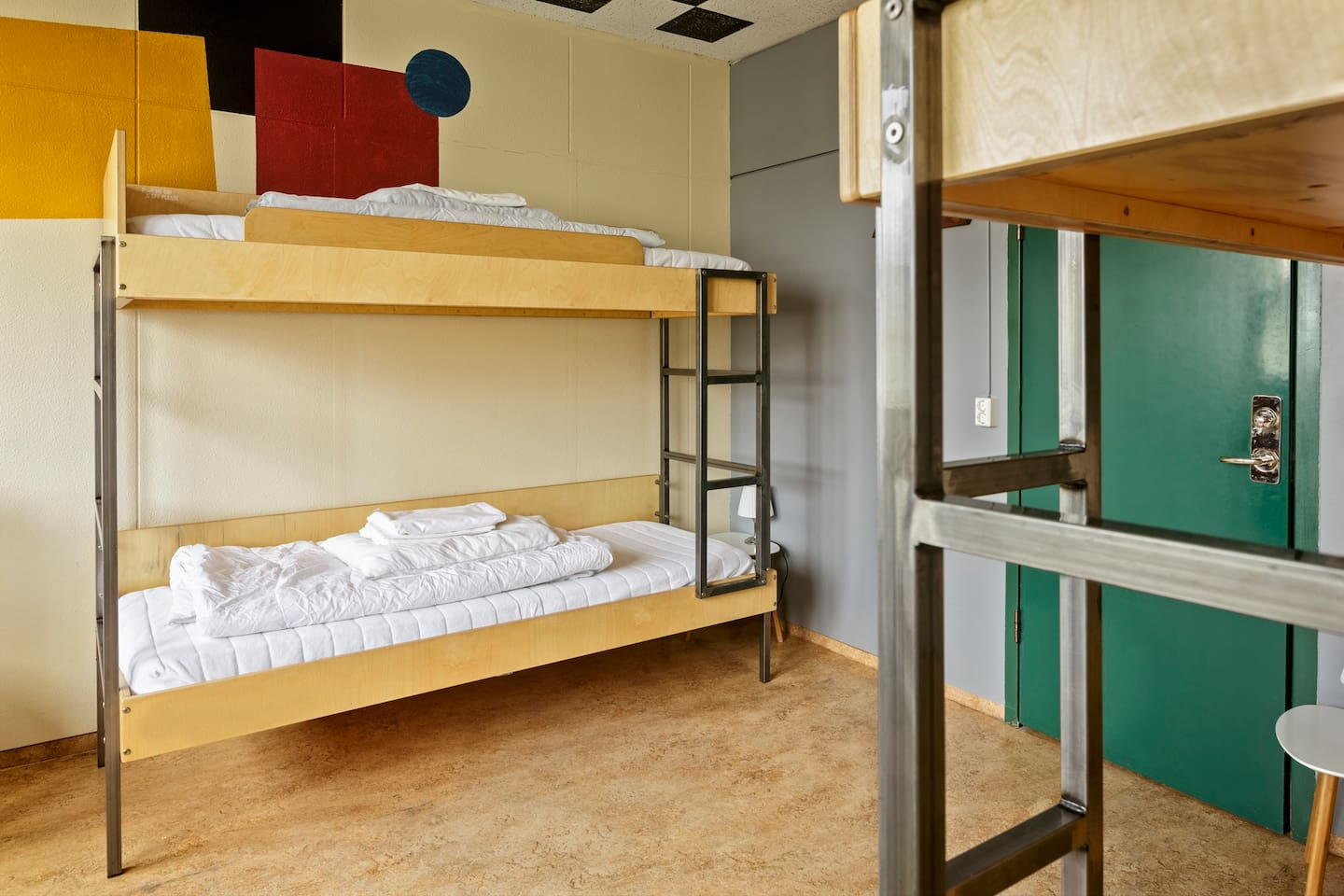 Brightly decorated and spacious dormitories.