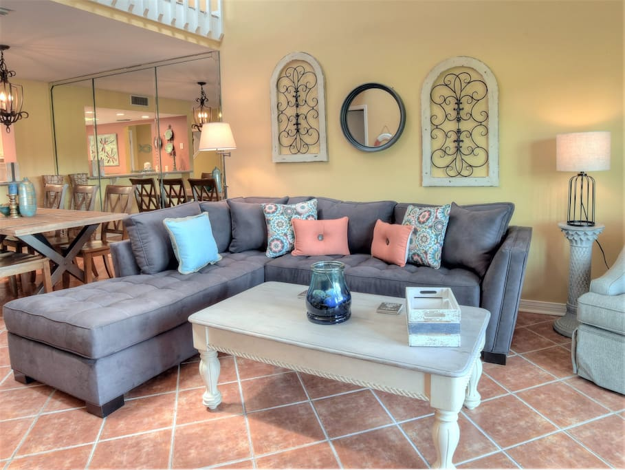 gorgeous living room with large sectional
