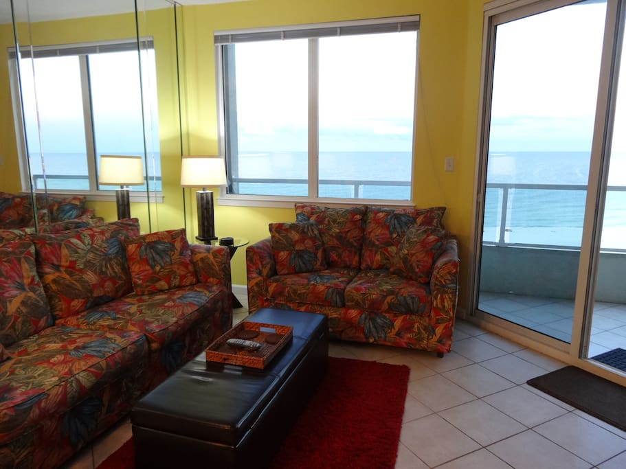 Living Area With Queen Sofa Sleeper Opens Onto Gulf Front Balcony.